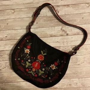 Handbags - Floral Embroidered Black Shoulder Bag
